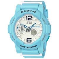 Casio Women's  'Baby-G' Analog-Digital Blue Resin Watch - White