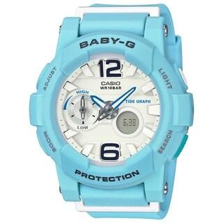 Casio Women's BGA180BE-2B 'Baby-G' Analog-Digital Blue Resin Watch - White