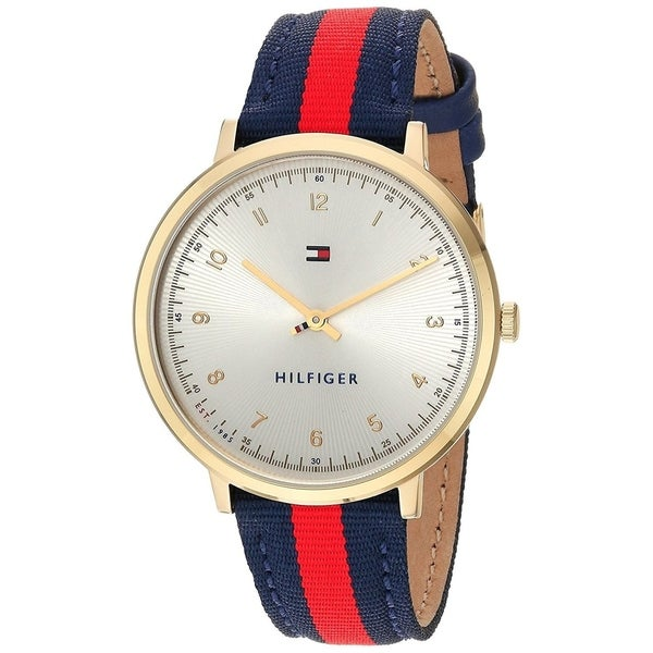 f2ce3388f7dfa7 Shop Tommy Hilfiger Women s  Pippa  Red and Blue Nylon and Leather Watch -  Silver - Free Shipping Today - Overstock - 18753787