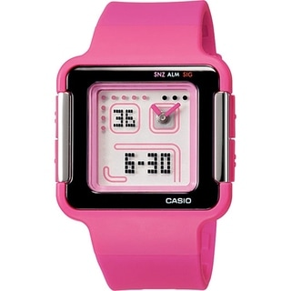 Casio Women's LCF-20-4 'Poptone' Analog-Digital Pink Resin Watch - White