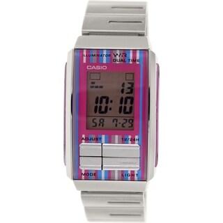 Casio Women's LA201W-4C 'Futurist' Digital Stainless Steel Watch - opink