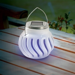 Solar Powered Bug Zapper Light Ceramic Outdoor Mosquito Killer Lamp