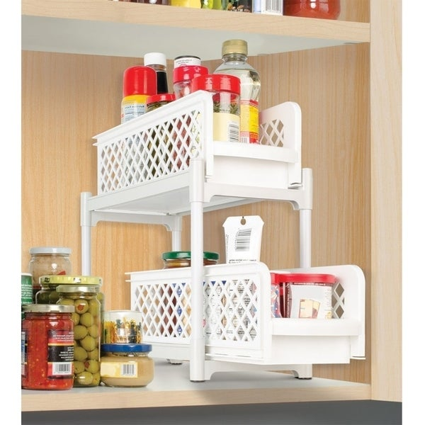 2 Tier Basket Drawers Bathroom Organizer Plastic Storage