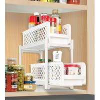2 Tier Basket Drawers Bathroom Organizer Plastic Storage Organizer
