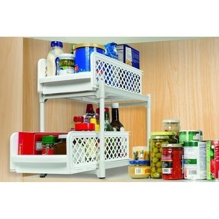 2 Tier Storage Drawer Organizer - Kitchen Cabinet Organizer