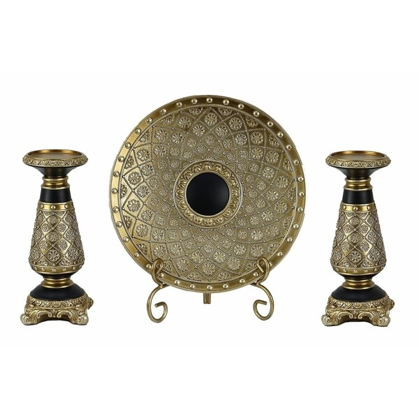 D'Lusso Designs Allurra Collection Four Piece Charger, Stand And Two Candlestick Set