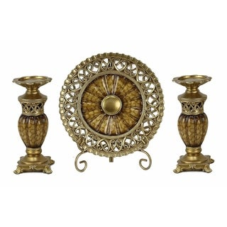 D'Lusso Designs Rossetta Collection Four Piece Charger, Stand And Two Candlestick Set