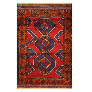 Handmade Herat Oriental Afghan Hand-knotted Tribal Balouchi Wool Area Rug (Afghanistan) - 3' x 4'11