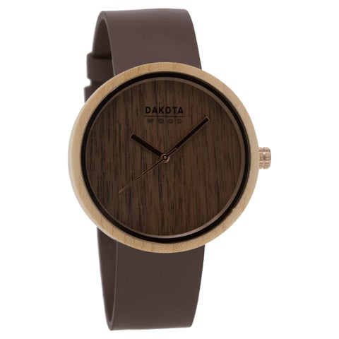 Dakota Wood Watch with Leather Band and Wood Dial