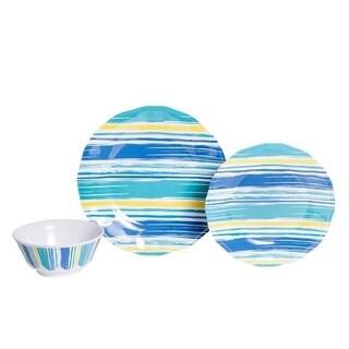 Galleyware Coastal Lines 12-Piece Melamine Dinnerware Set, Service for 4