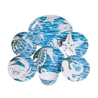 Galleyware Fantasea 13-Piece Melamine Dinnerware Set, Service for 4 with Platter