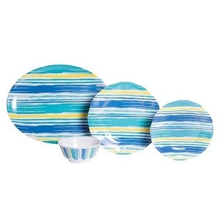 Galleyware Coastal Lines 13-Piece Melamine Dinnerware Set, Service for 4 with Platter