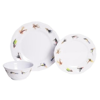 Galleyware Fishing Flies 12-Piece Melamine Dinnerware Set, Service for 4