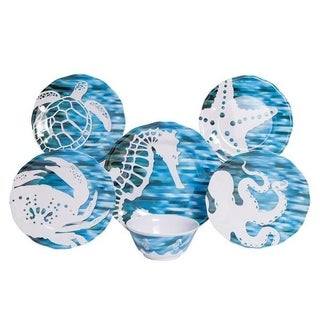 Galleyware Fantasea 12-Piece Melamine Dinnerware Set, Service for 4