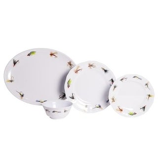 Galleyware Fishing Flies White/ Multicolored Melamine 19-piece Dinnerware Set with Platter (Service for 6)