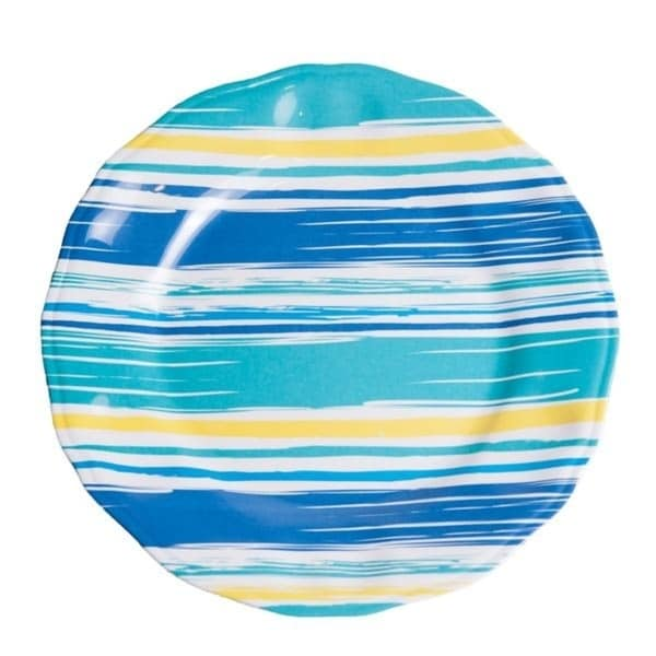 "Galleyware 11"" Coastal Lines Melamine Non-Skid Dinner Plate (Set of 6)"