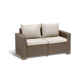 Keter California All Weather Outdoor Patio Loveseat with Cushions