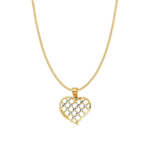 9f344d688db9f Shop 14k Two-Tone Gold Cross Hatch Heart Pendant and Curb Chain ...