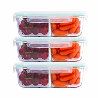 Glass Meal Prep Containers With 2 Compartments - 3 Pack