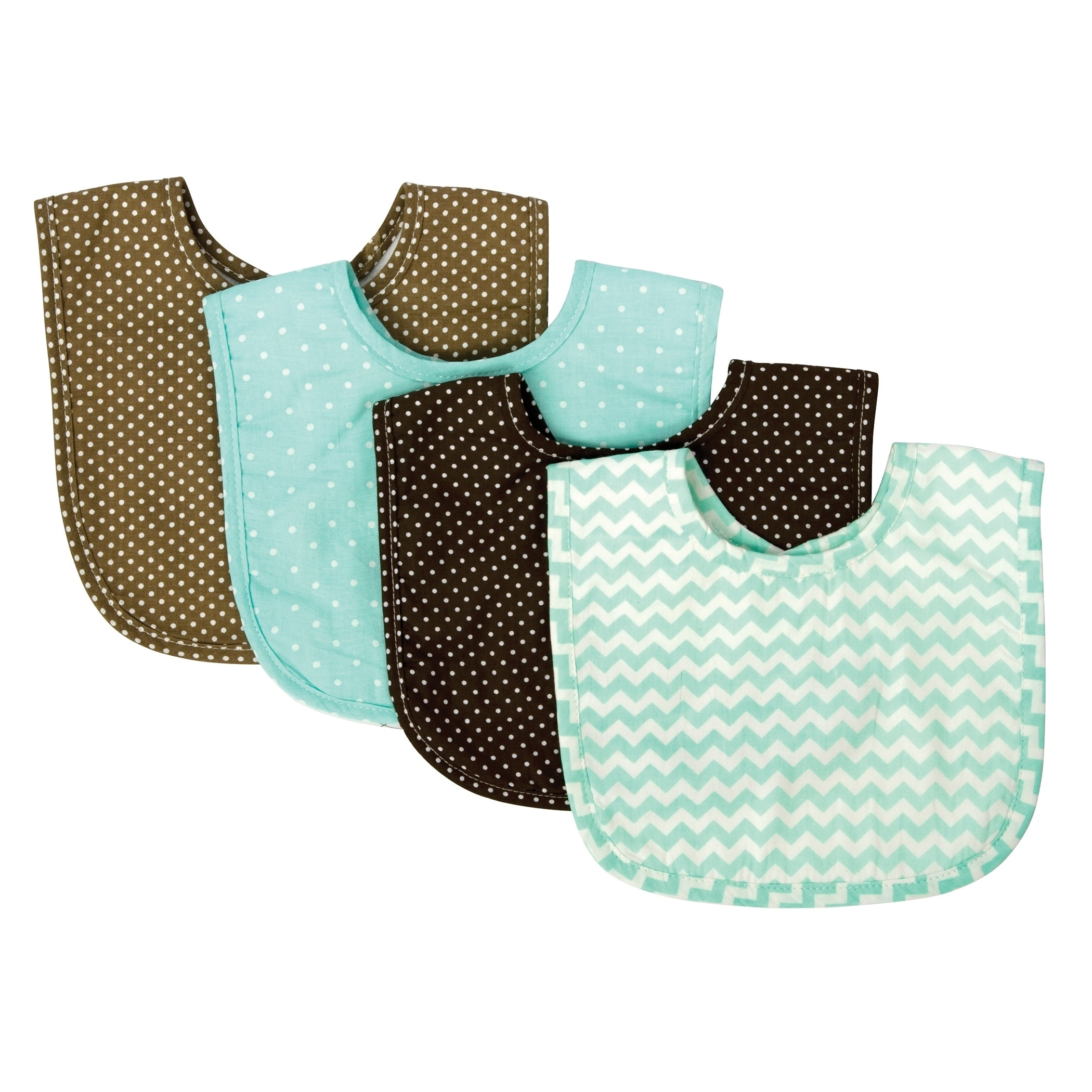 Trend Lab Cocoa Mint 4 Pack Bib Set, Multi