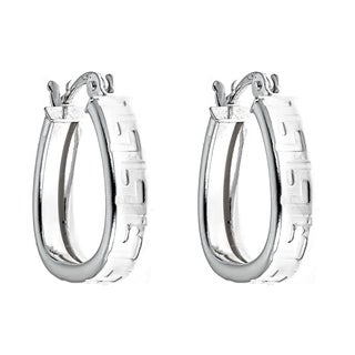 Pori Jewelers Sterling Silver 0.65'' Greek Design Hoop Earrings