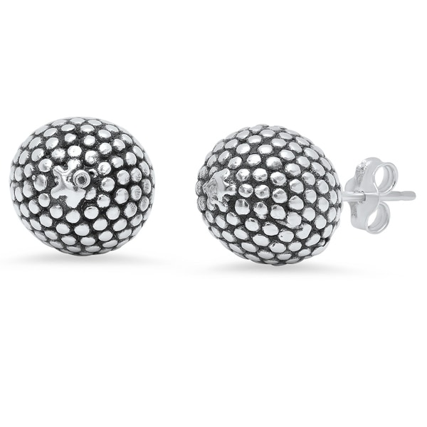 Sterling Silver Open back Post Earrings Solid Polished Etched Ball Earrings