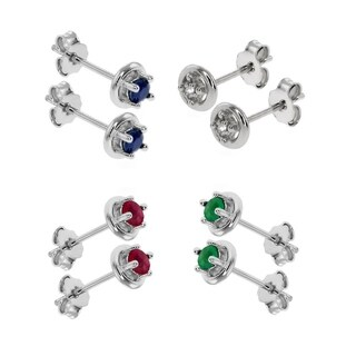 Pori Jewelers Set of 4prs Sterling Silver Gemstone Stud Earrings