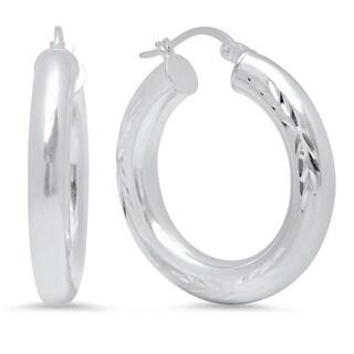 Pori Jewelers Sterling Silver Diamond-cut Hoop Earrings