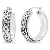 Pori Jewelers Sterling Silver Bali Hoop Earrings