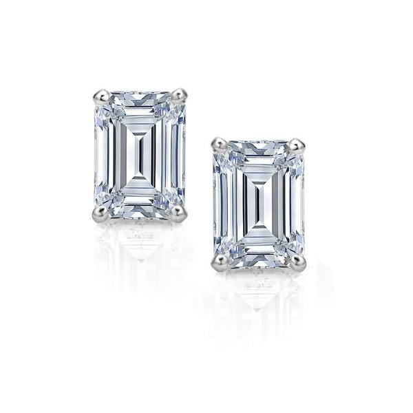 8c3b775ae Pori Jewelers Swarovski® Crystal & Sterling Silver Emerald-Cut Stud  Earrings