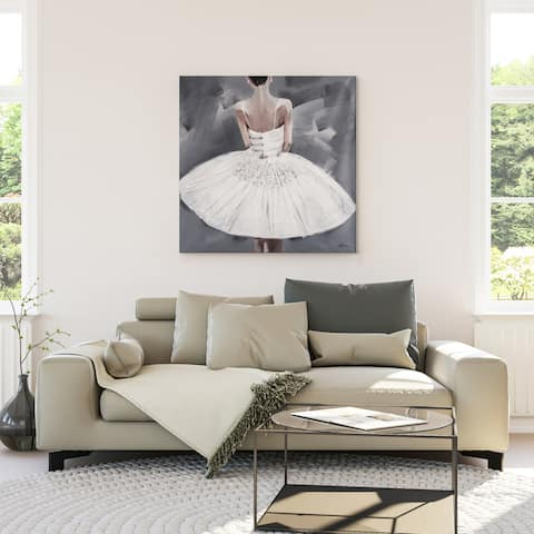 Yosemite Home Decor 'Ballerina III' Acrylic Square Original Hand-painted Acrylic Wall Art - multi