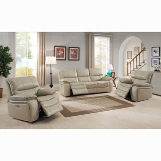 Luca Ivory Top Grain Leather Power Reclining Sofa and Two Chairs - 89 x 38 x 40