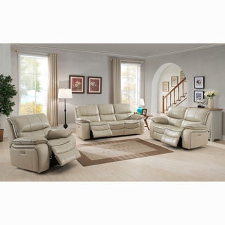 Luca Ivory Top Grain Leather Power Reclining Sofa, Loveseat And Chair