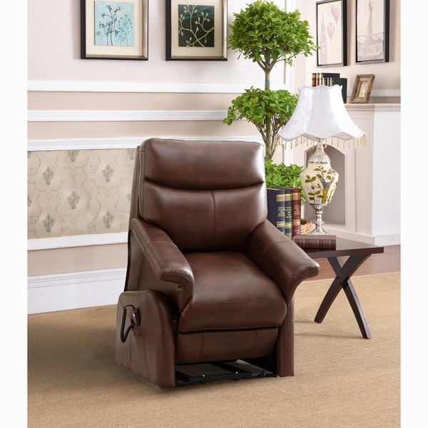 Ivy Brown Top Grain Leather Power Lift and Lay Flat Recliner Chair