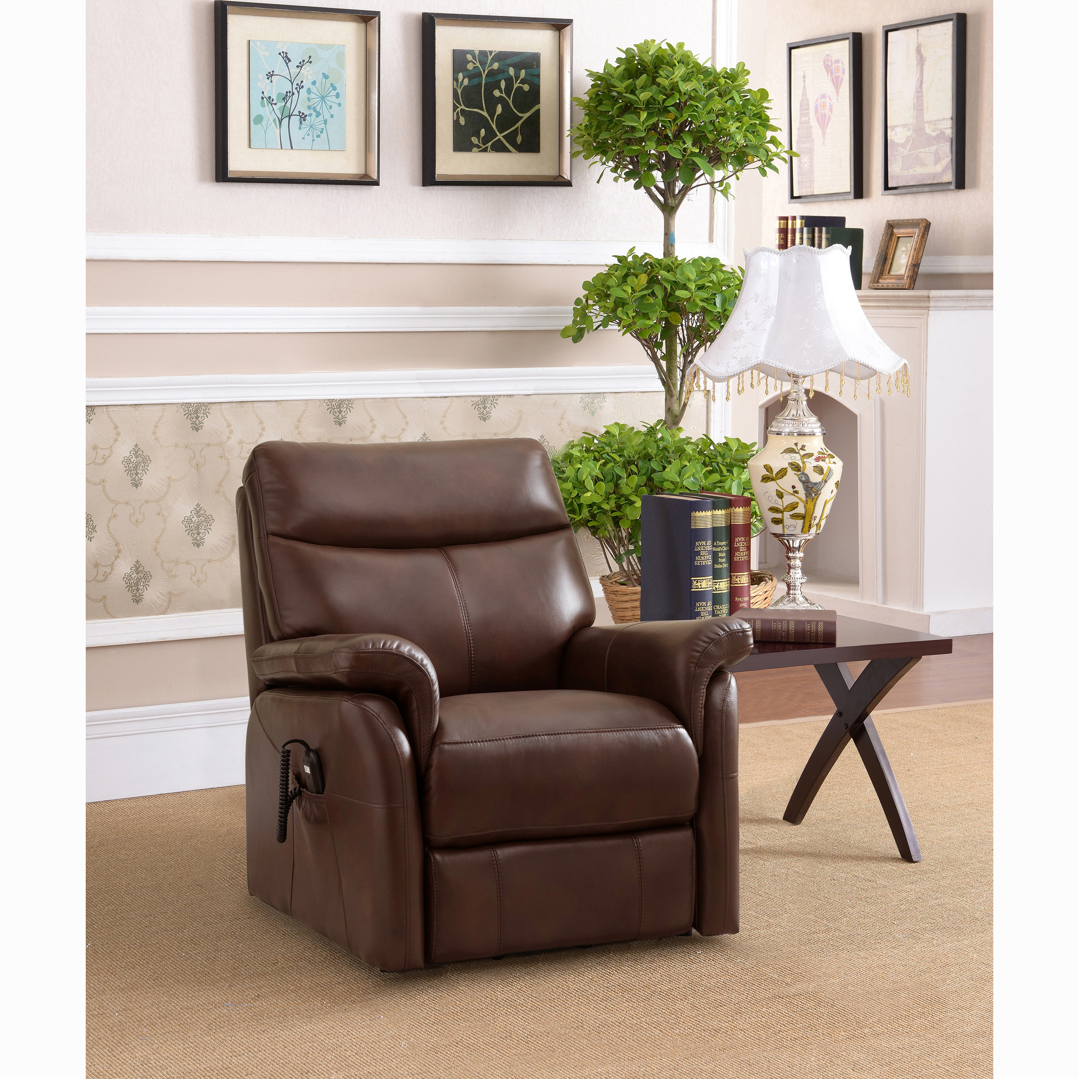 Awe Inspiring Ivy Brown Top Grain Leather Power Lift And Lay Flat Recliner Chair Caraccident5 Cool Chair Designs And Ideas Caraccident5Info