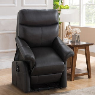 grey, barrington premium italian leather recliner at overstock