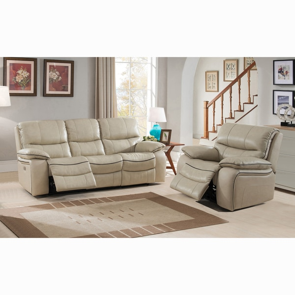 Shop Luca Ivory Top Grain Leather Power Reclining Sofa And