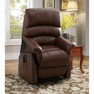 Cora Brown Top Grain Leather Power Lift and Lay Flat Recliner Chair