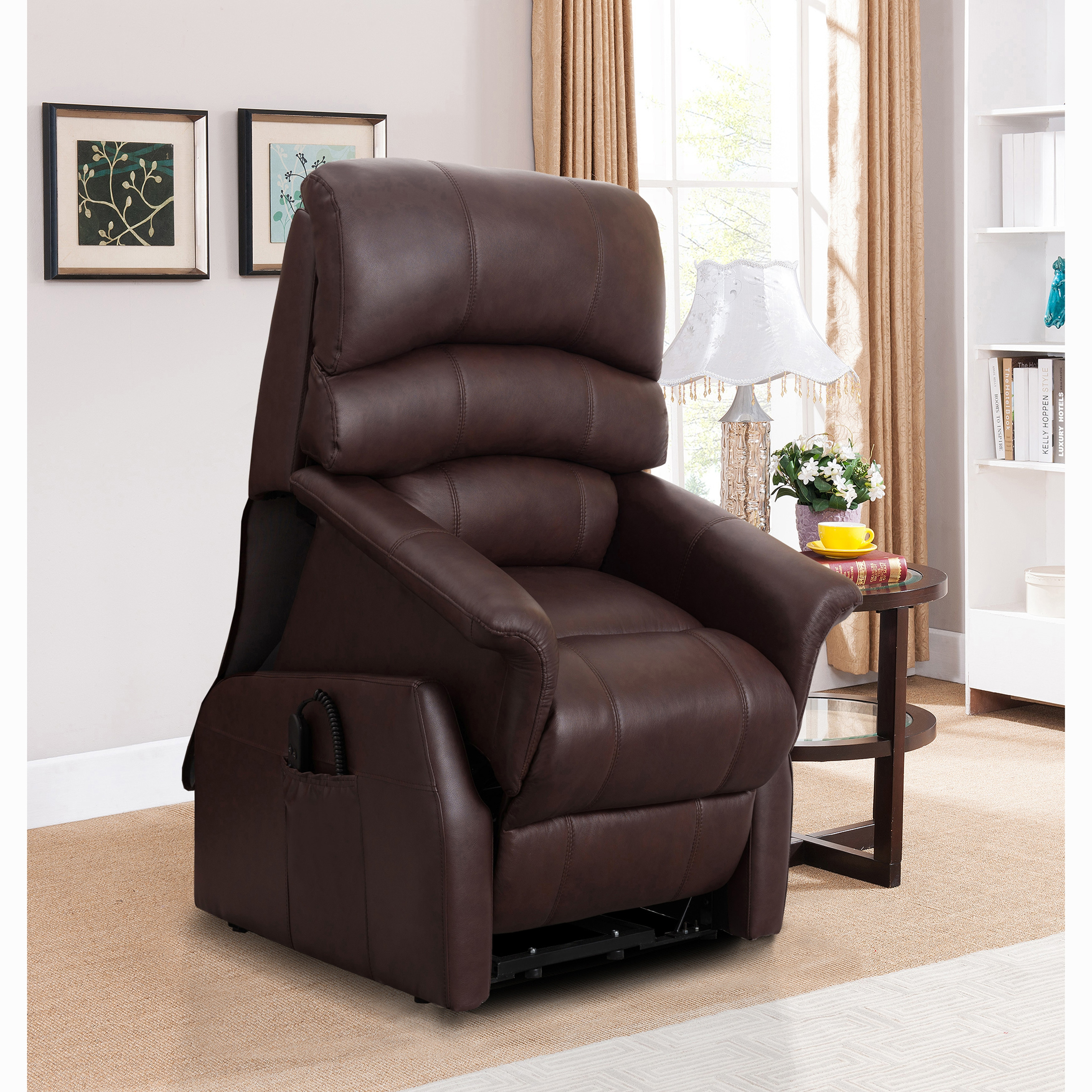 Phenomenal Erin Brown Top Grain Leather Power Lift And Lay Flat Recliner Chair Caraccident5 Cool Chair Designs And Ideas Caraccident5Info