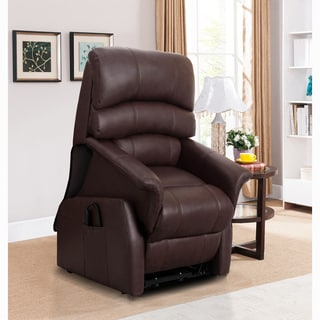 Erin Brown Top Grain Leather Power Lift and Lay Flat Recliner Chair
