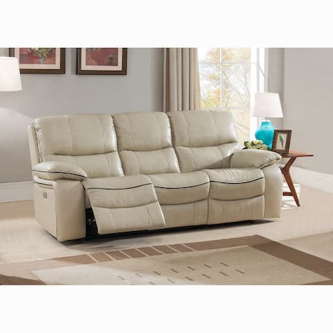 Luca Ivory Top Grain Leather Power Reclining Sofa with Power Headrests