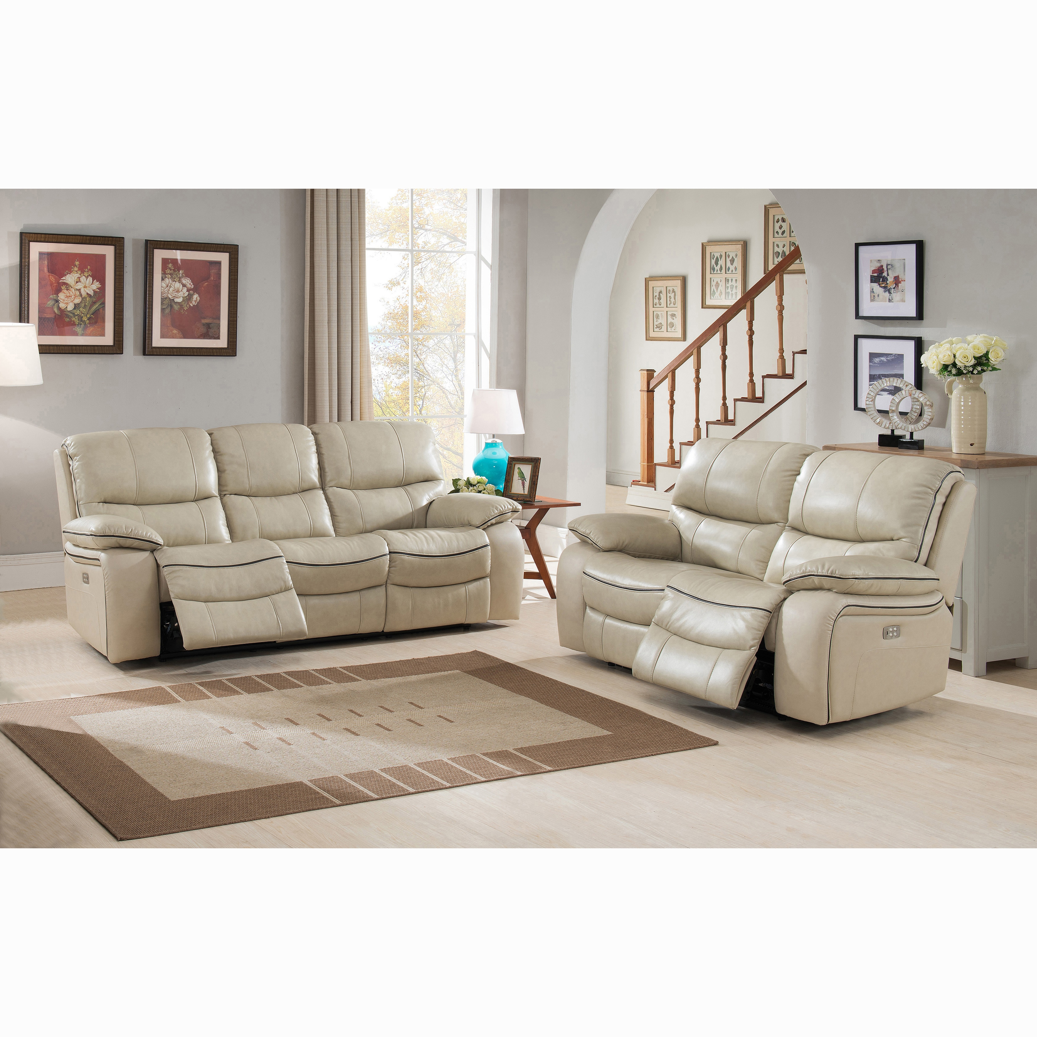Fabulous Luca Ivory Top Grain Leather Power Reclining Sofa And Loveseat 89 X 38 X 40 Bralicious Painted Fabric Chair Ideas Braliciousco