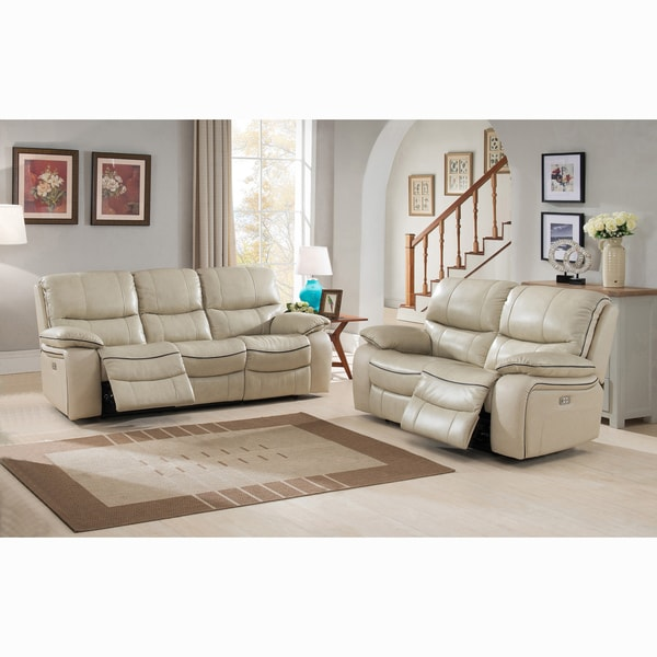 Top Luca Ivory Top Grain Leather Power Reclining Sofa and Loveseat  KR77