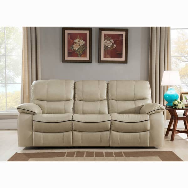 Shop Luca Ivory Top Grain Leather Power Reclining Sofa and Loveseat ...