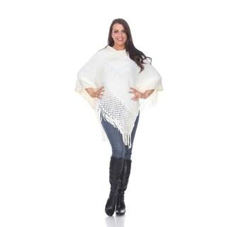 White Mark Women's Sansa Gold Knit Fringe Poncho