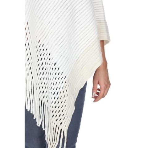 White Mark Women's Sansa Gold Knit Fringe Poncho - one size missy - one size missy
