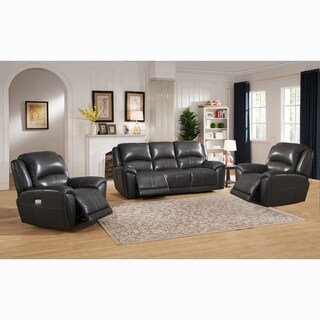 Ari Grey Top Grain Leather Power Reclining Sofa and Two Chairs