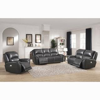 Ari Grey Top Grain Leather Power Reclining Sofa, Loveseat and Chair