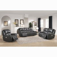 Ari Grey Top Grain Leather Power Reclining Sofa, Loveseat and Chair