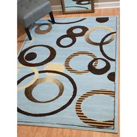 """Westfield Home Montclaire Contemporary Abstract Circles Blue Area Rug - 7'10"""" x 10'6"""""""